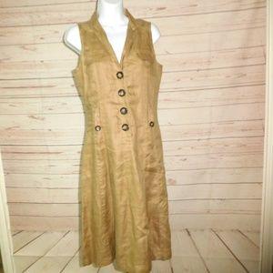 Zara Basic Tan Button Sleeveless Shirt Dress XS